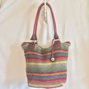 The SAK Cambria Tote Shopper Crochet Knit Rainbow